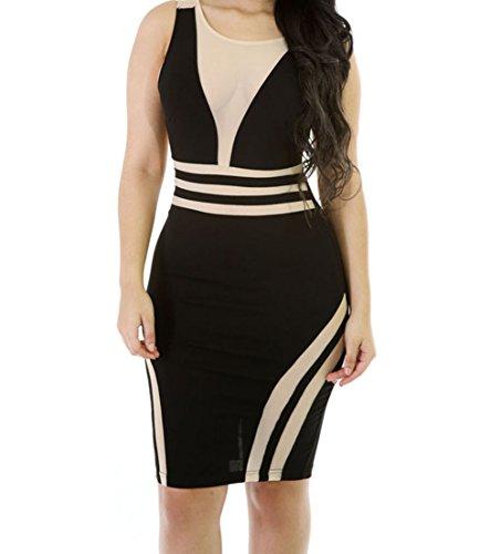 YeeATZ Mesh Patchwork Black Sleeveless Bodycon Dress(Size,S)