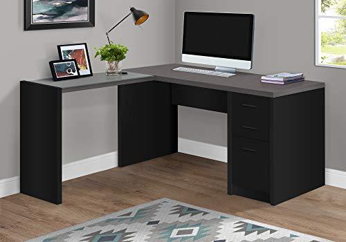 Monarch Specialties I I 7431 Black/Grey TOP Corner W/Tempered Glass Computer Desk,