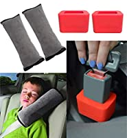 Car Seatbelt Holder, Easy And Efficient to Use, Great For All Ages; Bundle with the Seatbelt Pillow, Shoulder Pad, Soft and Plush Seatbelt strap cover headrest (Set of 2 and 2)- By Buckle Boy