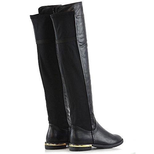Stivale Piatto Donna In Essex Glam Nero Elasticizzato Tacco Elasticizzato In Pelle Di Vitello Nero Inverno Casual