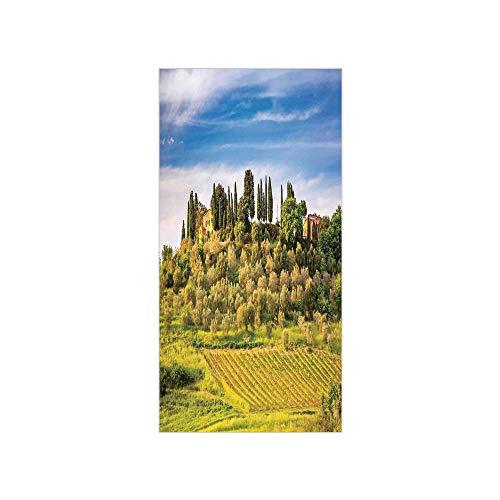 Decorative Privacy Window Film/Green Field Tranquil Landscape Retro Stone Toscana Farmhouse Vineyard/No-Glue Self Static Cling for Home Bedroom Bathroom Kitchen Office Decor Blue Green and Khaki ()
