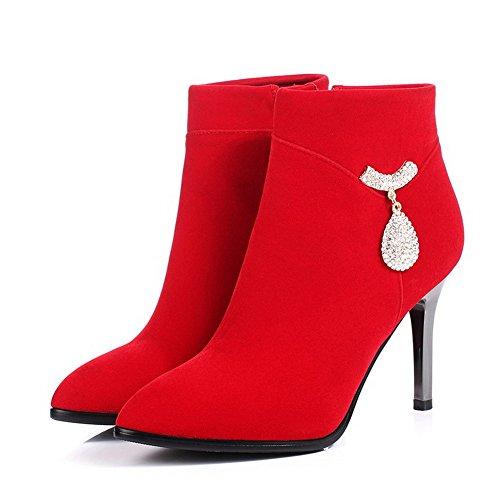 AllhqFashion Damen Hoher Absatz Eingelegt Reißverschluss Stiefel mit Beschlagene Strass Rot