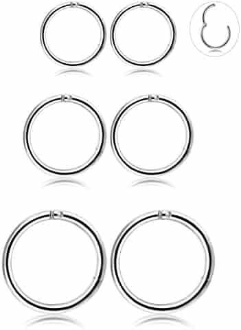 Thunaraz 3 Pair Stainless Steel 16G Sleeper Earrings Septum Clicker Nose Lip Ring Body Piercing