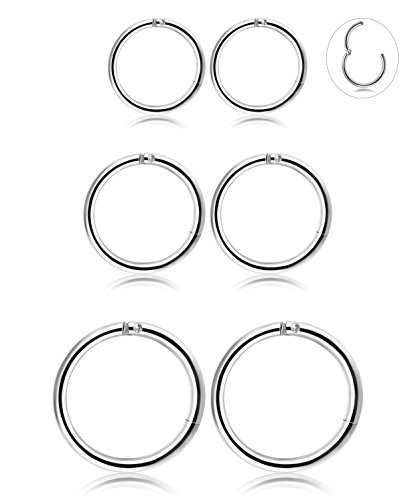 Steel Hoops (3 Pair Stainless Steel 16G Sleeper Earrings Septum Clicker Nose Lip Ring Body Piercing Silver Tone)