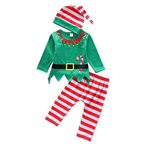 1st Christmas Outfit Infant Baby Elf Santa Costume Top Pants Hat Clothes Xmas Gift 3PCS Set Fancy Cosplay for Toddler Girl Boy Green Size 6-12 -