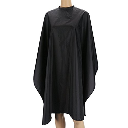 Segbeauty Lightweight Hair Cut Cape, Black Nylon Smock for Salon Hair Color Shampoo Makeup, Hook and Loop Closure Static Free Water Resisitant Hairdress Apron Black Cloak, Large Long Back Length by Segbeauty