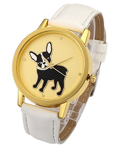 - Top Plaza Boys Girls Kids Watch Fashion Cute Gold Tone Case PU Leather Strap Bulldog Pattern Analog Quartz Wrist Watch(White)