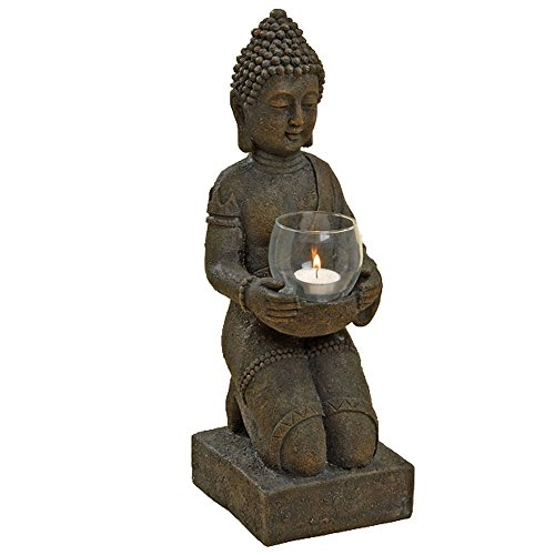 Patina Glass Votives - Whole House Worlds The Global Chic Kneeling Buddha Plus Glass Votive Candle Holder, For Gardens and Home, 1 foot 5 1/4 (17 1/4), From the Serenity Collection By