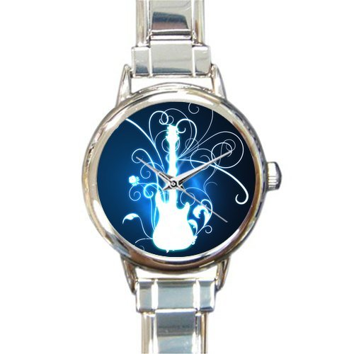 Hot Sale Christmas Day Gift Watch Beautiful Glowing Guitar Round Italian Charm stainless steel Watch
