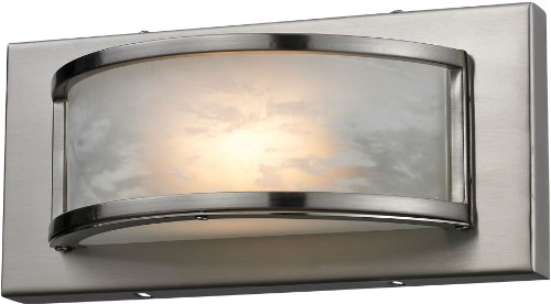 Elk 1 Light Vanity (Elk 81020/1 9-3/4 by 4-1/2-Inch Melville 1-Light Bathroom Vanity Light with Faux Alabaster Glass Shade, Satin Nickel Finish)