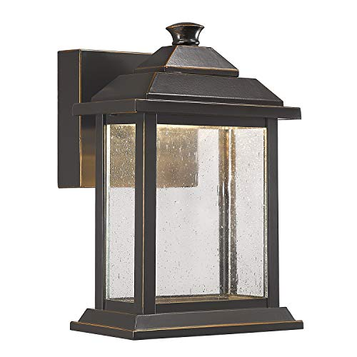 Emliviar Outdoor Wall Lantern LED 12W, Exterior Wall Lights with Seeded Glass Shade in Rubbed Oil Bronze Finish, 0382-WD ()