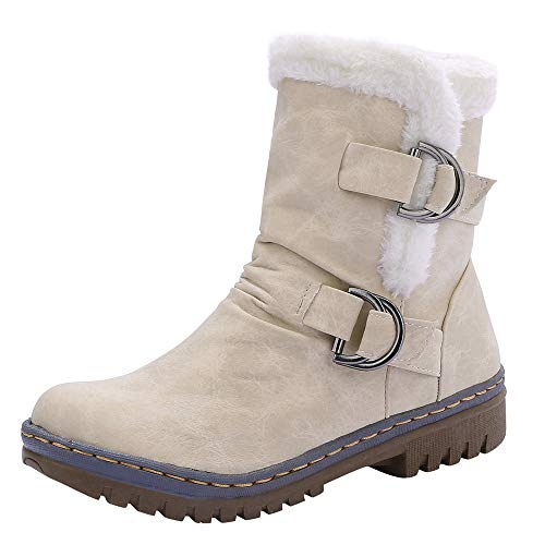 GIFC Fashion Women's Classics Buckle Warm Shoes Fur Snow Boots Med Heel Short Bootie for Ladies ()