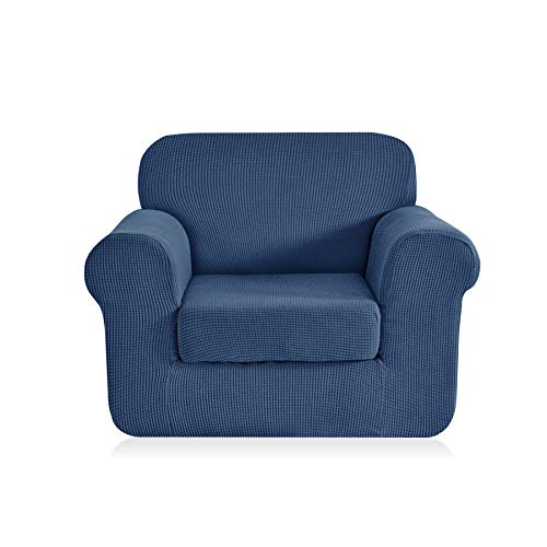 CHUN YI Jacquard Armchair Covers 2-Piece Stretch Polyester Spandex Fabric Chair Slipcover,1 Seater Cushion Sofa Furniture Protector for Couch (Chair,Denim Blue)
