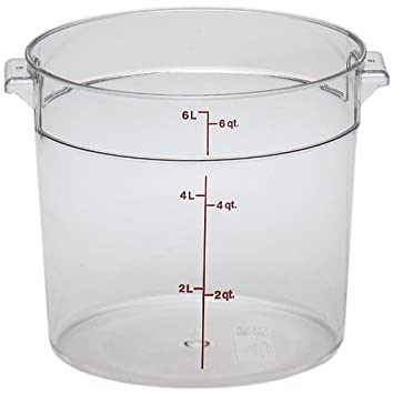 Cambro RFSCW6135 Camwear 6 Quart Round Food Storage Container,  Polycarbonate, Clear, NSF