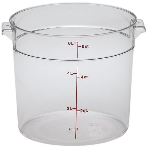 Cambro RFSCW6135 Camwear 6-Quart Round Food Storage Container, Polycarbonate, Clear, -