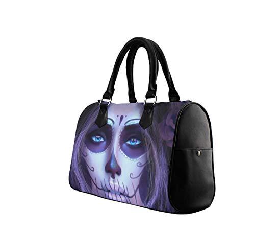Day of the Dead Sugar Skull Print Lady Barrel Designer Satchel Handbags,Leather Top Handle Purses Shoulder ()