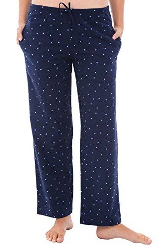 Alexander Del Rossa Womens Flannel Pajama Pants, Long Cotton Pj Bottoms, Large Blue with Purple Dots (A0702Q07LG)