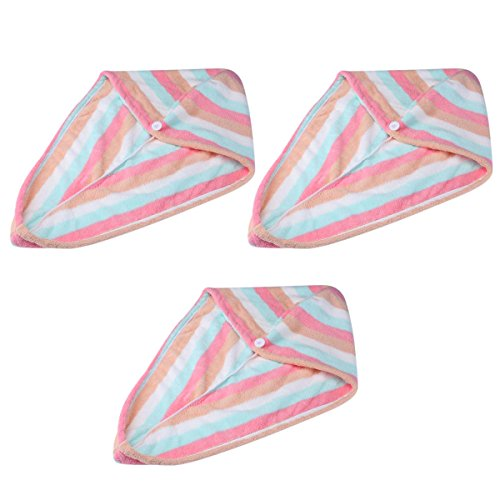 Tbestmax Hair Wrap Towel Super Fast Drying Microfiber Absorbent Turban for Women Stripe Rainbow Color 3 Pack
