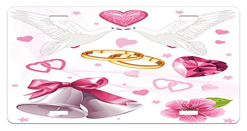 Wedding Invitation Plate (Ambesonne Wedding License Plate, Wedding Themed Artwork Invitation Announcement Hearts Rings Birds Happiness, High Gloss Aluminum Novelty Plate, 5.88 L X 11.88 W Inches, Pink White Orange)