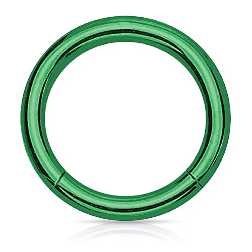 (BodyJ4You Piercing Ring Hinged Segment Clicker 16G Hoop 6mm Green Steel Tragus Daith Eyebrow)