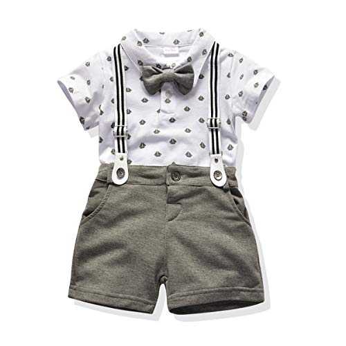 Toddler Boys Clothing Set Gentleman Outfit Bowtie Polo Shirt Bid Pants Overalls (2T, White1) -