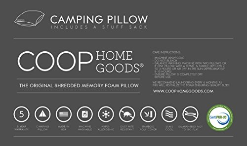 96a0ccd0d49 Premium Shredded Memory Foam Camping and Travel Pillow with Bamboo ...