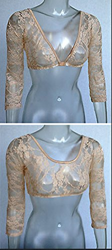 Sleevey Wonders Womens Reversible 3//4 Sleeves Taupe Lace