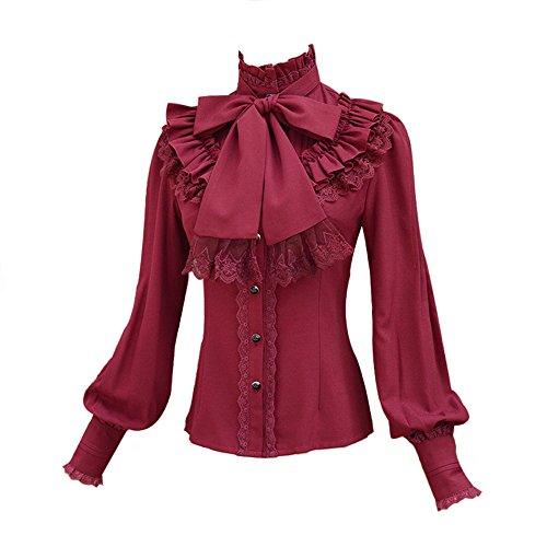 Smiling Angel Chiffon Ruffle Lace Bow Tie Vintage Gothic Lolita Casual Shirt Blouse,White/Black/Wine Red/Blue (Angel Blouse)