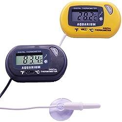 Molshine 2-Pack LCD Digital Thermometer for Aquarium, Fish Tank Water, Terrarium, Ambient Temperature Sensor (TE-FTM)