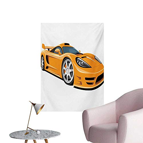 - Anzhutwelve Cars Wallpaper Orange Sports Car Fast Racing Roadster Modern Automotive TechnologyPale Orange Black Silver W20 xL28 The Office Poster