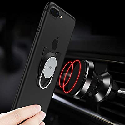 Cat Ring Phone Holder, 2 Pack Phone Ring for Magnetic Car Mount, 360 Rotation Cute Cat Kickstand for iPhone X, 8, 7, 6s, Galaxy S7 S8 and Most of Smartphones (Black)