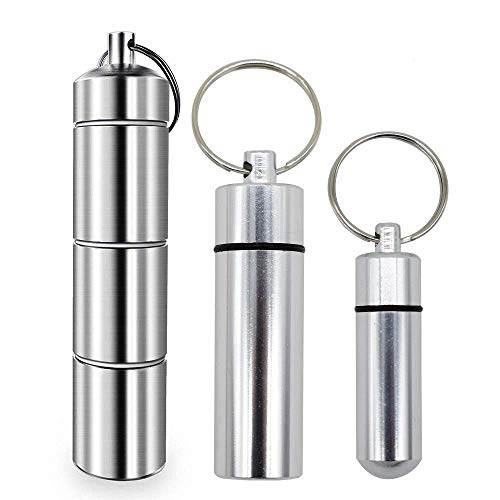 [3-Pack]3 Size Aluminum Alloy Chamber Keychain Pill Holder/Container for Men & Women ~ Holds Aspirin, Ibuprofen, Advil & Other Medication ~Waterproof & Ideal Pill Fob for Travel (M)