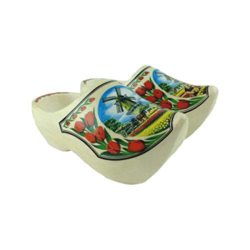 Essence of Europe Gifts E.H.G Wooden Shoe Clogs Dutch Windmill and Tulips Design-7