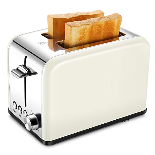 Cream Retro - Compact Small Bread Bagel Toasters 2 Slice, Wide Slot Stainless Steel Kitchen Toaster, Cream