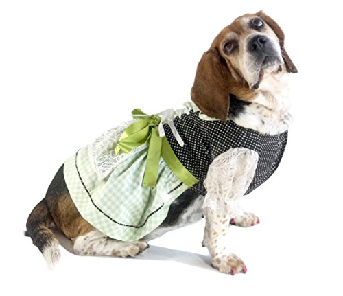 EINSZWEIDOG Oktoberfest German Dirndl Dog Dress, Multiple Sizes, Grun (XS) -