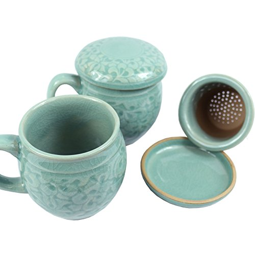 Set of 2, Porcelain Tea Cup with Infuser and Lit Set - Korean Ceramics Coffee Mug Celadon Teacup Loose Leaf Tea Brewing System for Home Office