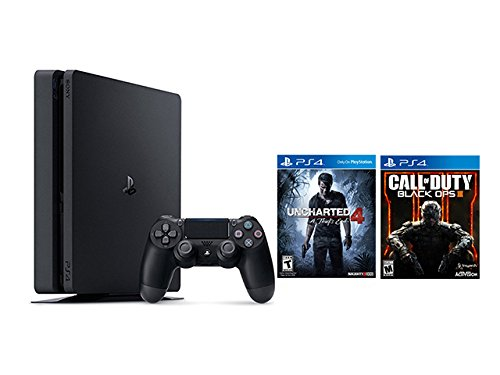 Playstation 4 Slim 2 items Bundle: PlayStation 4 Slim 500GB Console - Uncharted 4 Bundle and Call of Duty Black OPS III Game Disc