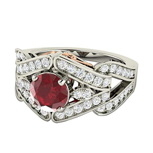 Dividiamonds 1.57Ct Round Ruby & D/VVS1 Diamond Split Shank Engagement Ring 14K White Gold Plated Silver ()