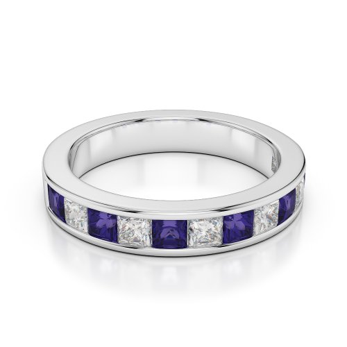 G-H/VS 1 CT Coupe ronde Certifié tanzanite et diamants en platine 950 Agdr-1137