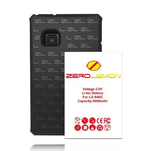 [180 Days Warranty] Zerolemon LG 840G 4000mah Extended Battery + Free Black Extended TPU Full Edge Protection Case - World's Highest 840G Battery Capacity - Black (Zerolemon Replacement Battery)
