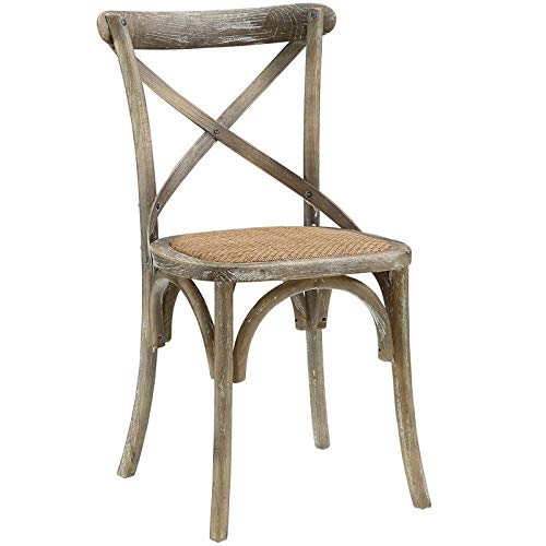 - Wood Dining Chair with X Back and Curved Base - Upholstered Dining Chair with Rattan Fabric - Gray