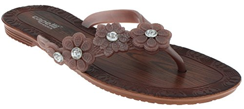 Capelli New York Ladies Fashion Flip Flops with Flower and Gem Trim Rose Gold 10