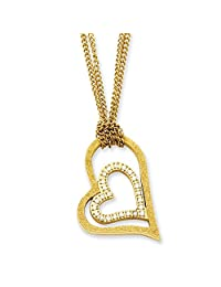 IceCarats® Designer Jewelry Stainless Steel Yellow Ip-Plated Laser-Cut Heart W/Czs 20In Necklace