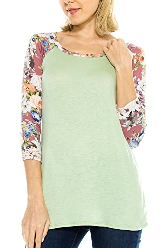 KLKD Women's Floral Sleeves Solid Wide N - Solid Sage Jersey Shopping Results