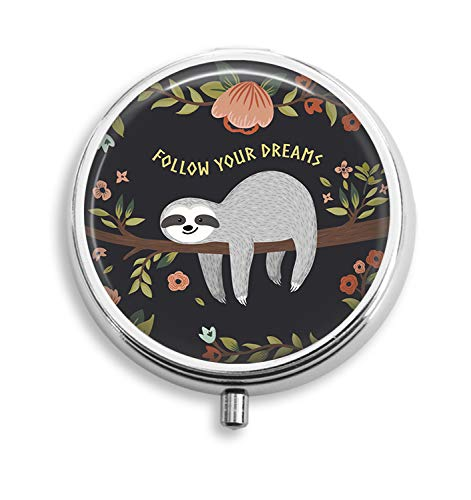 (Euger Custom Cute Baby Sloth On The Tree Round Silver Pill Box Pocket 2.1 inches Medicine Tablet Holder Organizer Case for)