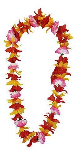 Hawaii Luau Party Artificial Fabric Leilani Carnation Lei Orange -