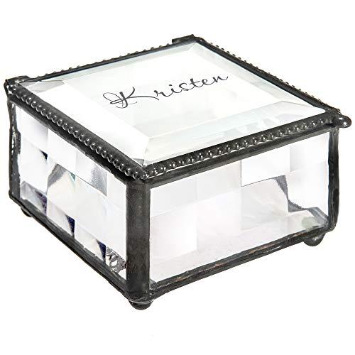 J Devlin Box 333 EB247 3x3 Clear Stained Glass Keepsake Decorative Trinket Jewelry Box Gift