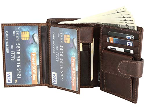 Mens Wallets 13 Slots 3 ID Windows Extra Capacity Flip Zipper RFID Coin COWFEX (Brown) - Wallet Mens Fold Three
