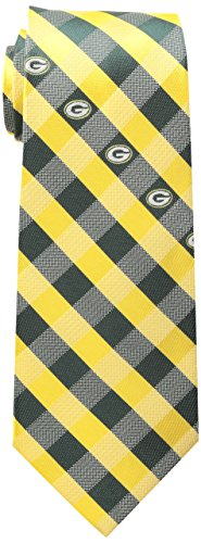 NFL Green Bay Packers Men's Woven Polyester Check Necktie, One Size, Multicolor