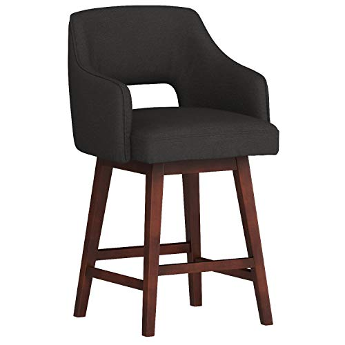 Rivet Malida Mid-Century Modern Open Back Swivel Kitchen Dining Room Counter Bar Stool with Arms, 37 Inch Height, Charcoal Black (With Chairs Bar Arms Stool)